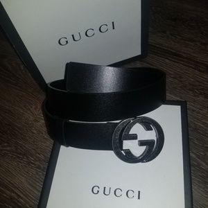 Gucci Black Leather GG Belt